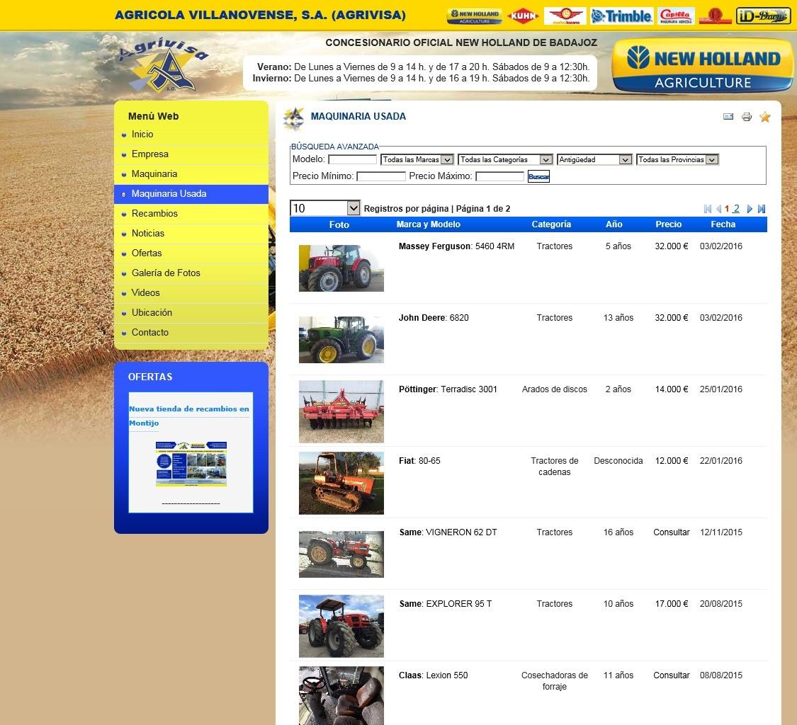 Compre maquinaria de ocasión. Visite www.agrivisa.com